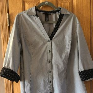 2 for $15  3/4 sleeve button down black and white